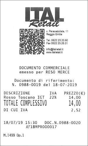 Documento commerciale di reso