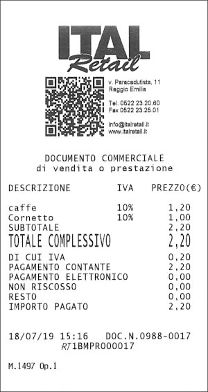 Documento commerciale vendita