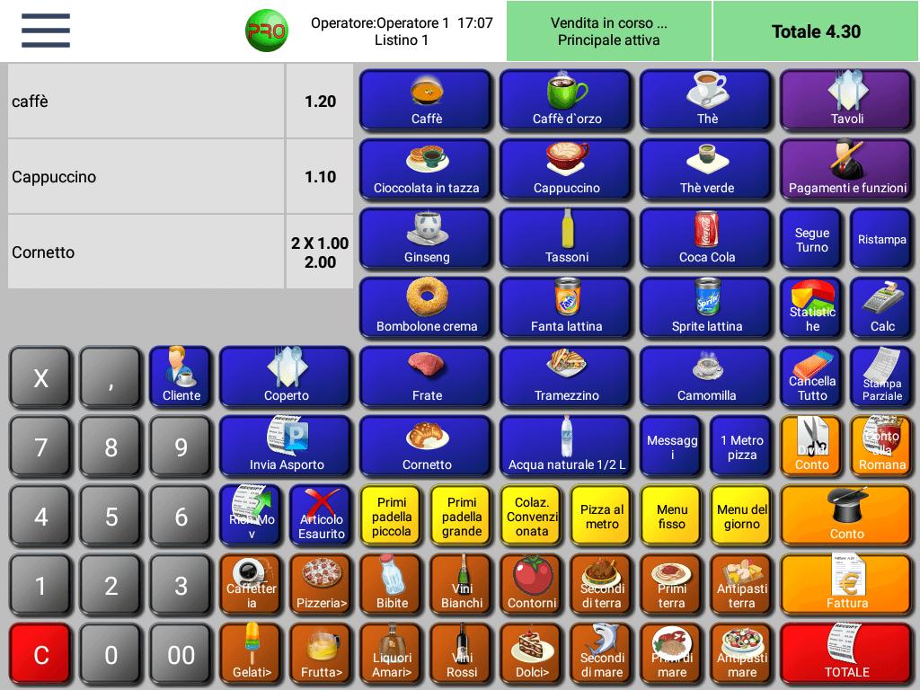 Software di cassa RistorAndro schermata di vendita
