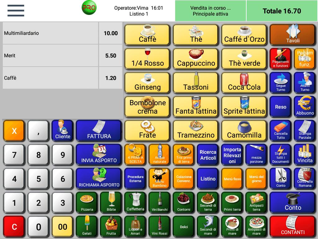 RistorAndro - schermata di vendita Tabacchi e Gratta e Vinci